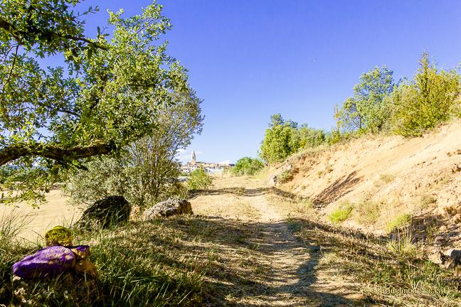 Camí de la Vall del riu Queixigar en direcció al Congost de Siscar o Congost del Queixigar. Al fons la vila de Tolba, Ribagorça. Osca, Aragó. Montsec d'Estall.