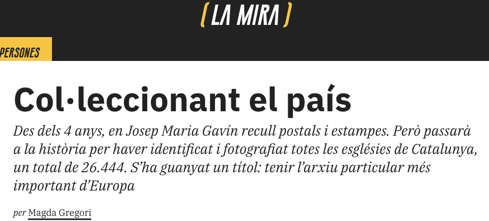 Article 'Col·leccionant el País' per Magda Gregori al magazín 'La Mira'.