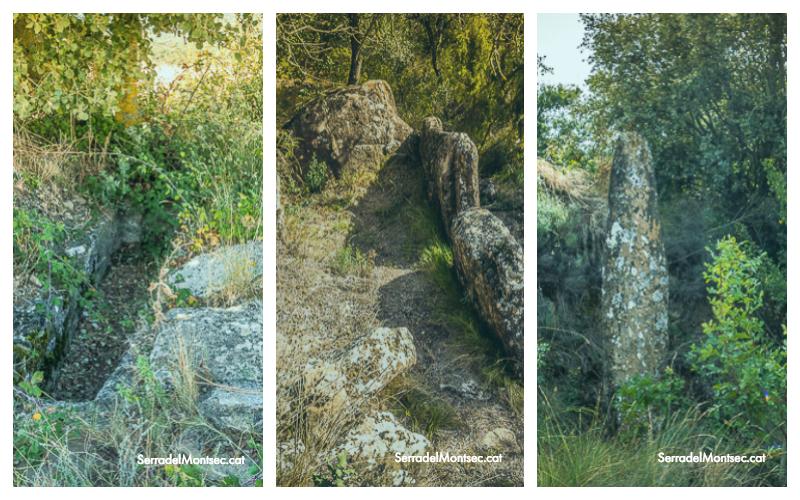 D'esquerra a dreta, Necròpolis de lo Maset (o del Siderol), Dolmen de Montmagastre i Menhir de Montmagastre. Artesa de Segre. La Noguera, Lleida. Serra del Montsec.
