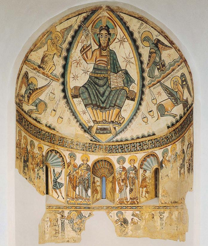 Crist en majestat amb símbols dels quatre evangelistes. Santa Maria de Mur. Castell de Mur. Pallars Jussà, Lleida. Catalunya. Montsec de l'Estall.
