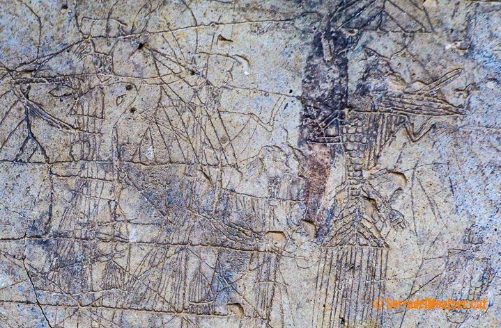 Representació d'un trobador a les restes de guix del Castell d'Oroners. Camarasa, La Noguera. Lleida, Catalunya. Montsec d'Ares.