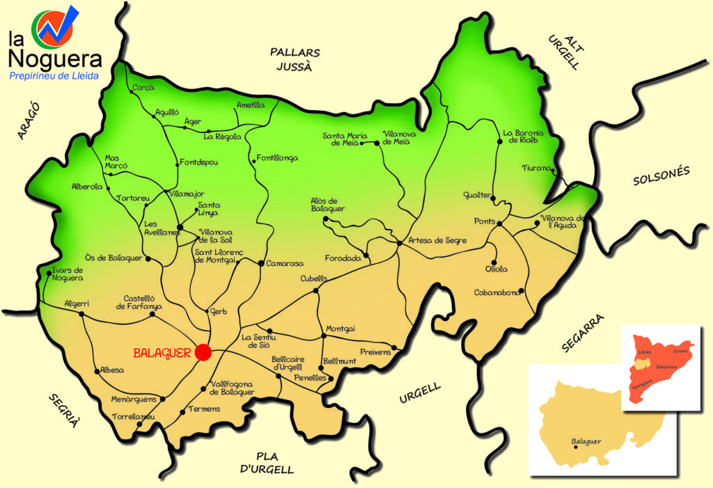 Mapa de la comarca de La Noguera.