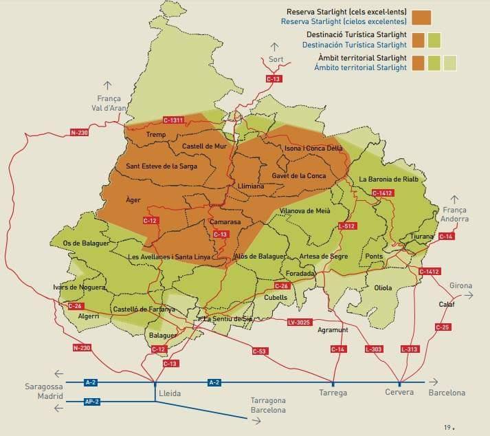 Mapa del Montsec, Destí Turístic Starlight.