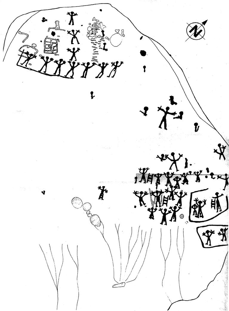 Dibuix complert dels gravats rupestres de Mas de n'Olives, Torreblanca. Ponts, Lleida. Catalunya. Montsec de Rúbies.