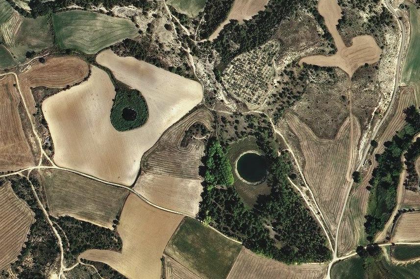 Ortofoto dels Estanys de Basturs. Espai d'Interès Natural Estanys de Basturs. Isona i Conca Dellà. Conca de Tremp. Pallars Jussà. Montsec de Meià (o de Rúbies).