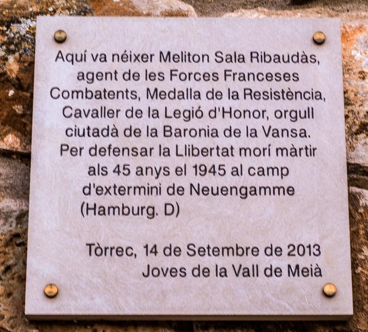 Placa d'homenatge a Meliton Sala Ribaudàs a Tòrrec, Vilanova de Meià. La Noguera, Montsec de Rúbies (o de Meià).