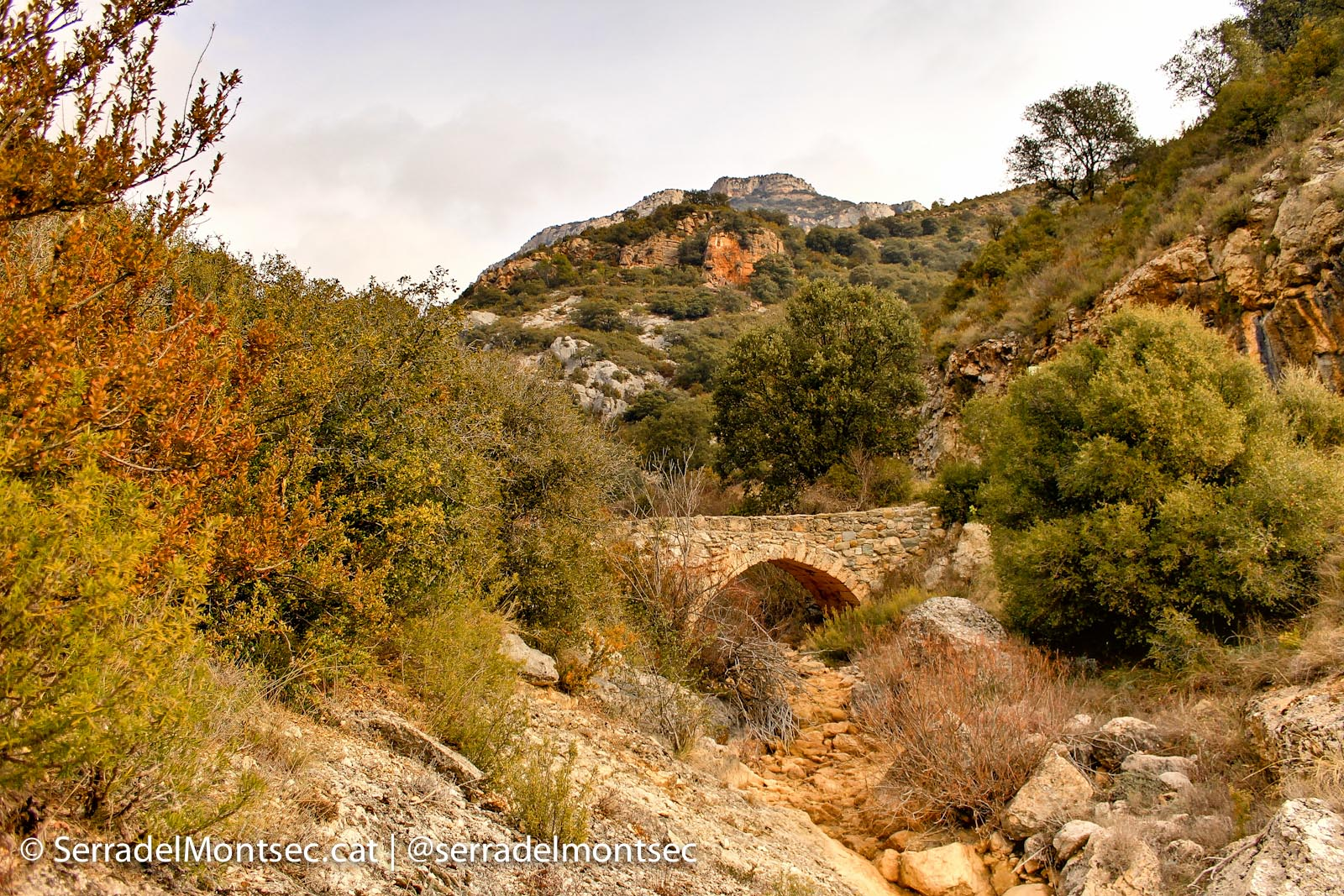 Pont de la Gata i el Camí de l'Escala del Pas Nou. Vilanova de Meià, La Noguera. Montsec