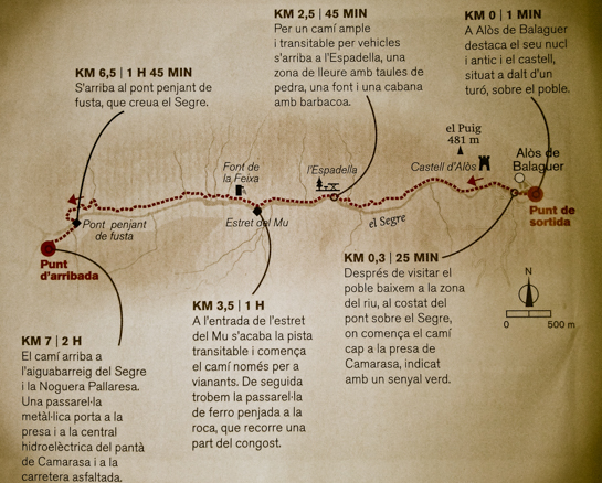 """Mapa de la ruta del Congost de Mu. Alòs de Balaguer i Camarasa. Espai d'Interès Natural de l'Aiguabarreig Segre i Noguera Pallaresa, La Noguera. Lleida, Catalunya, Montsec de Rúbies. Aparegut a la revista '<a href=""""http://www.descobrir.cat"""" target=""""_blank"""" rel=""""noopener"""">Revista Descobrir</a>'."""