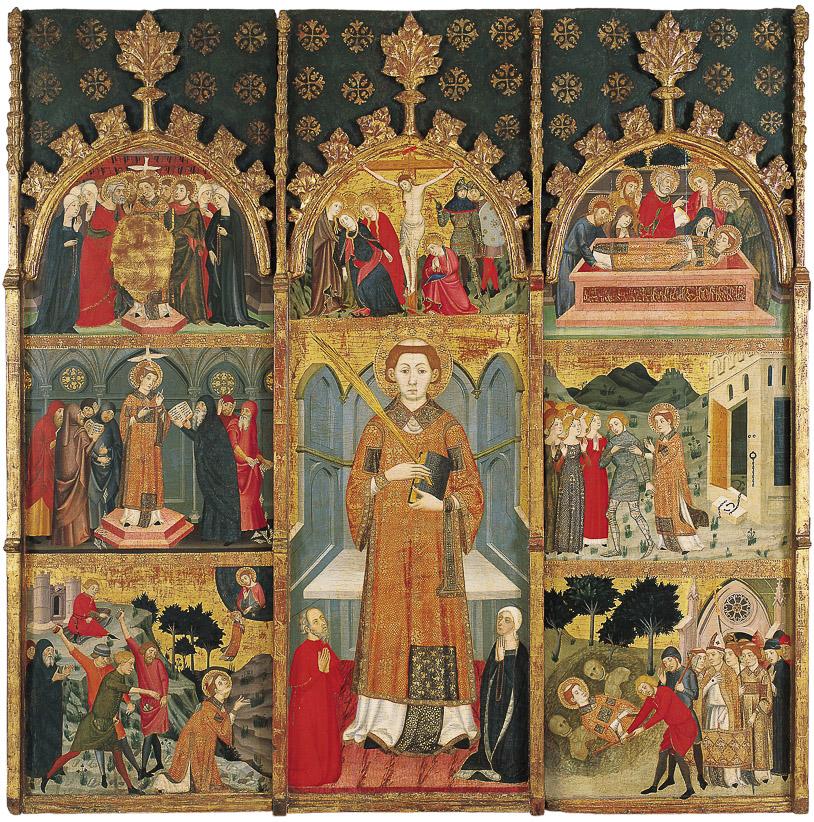 Cos principal d'un retaule. Manquen la predel·la i el guardapols. Procedeix del monestir de Santa Maria de Gualter (La Noguera). Jaume Serra, segle XIV. Museu Nacional d'Art de Catalunya.