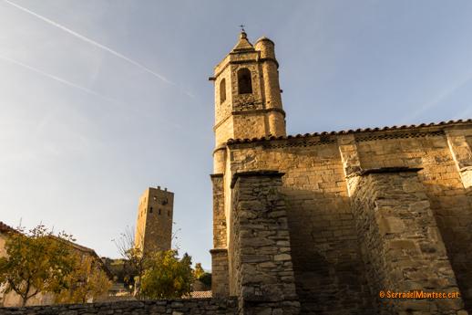 Sant Cristòfol de Lluçars, amb la torre al fons. Lluçars, Ribagorça. Osca, Aragó. Montsec d'Estall.