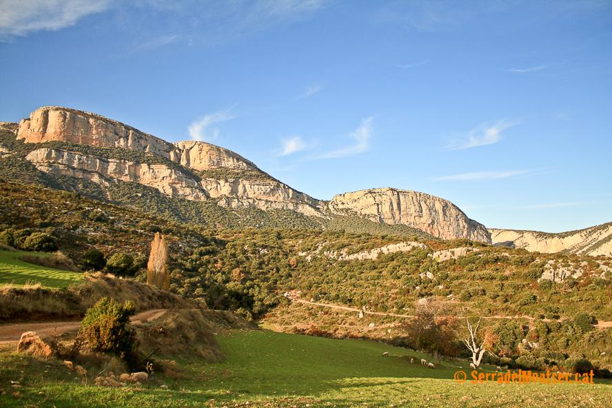 La imponent muralla de la Roca dels Arços vigila la vall del riu Boix i el Camí de l'Escala del Pas Nou. Pont de la Gata al el Camí de l'Escala del Pas Nou. Vilanova de Meià, La Noguera. Lleida, Catalunya. Montsec de Rúbies.