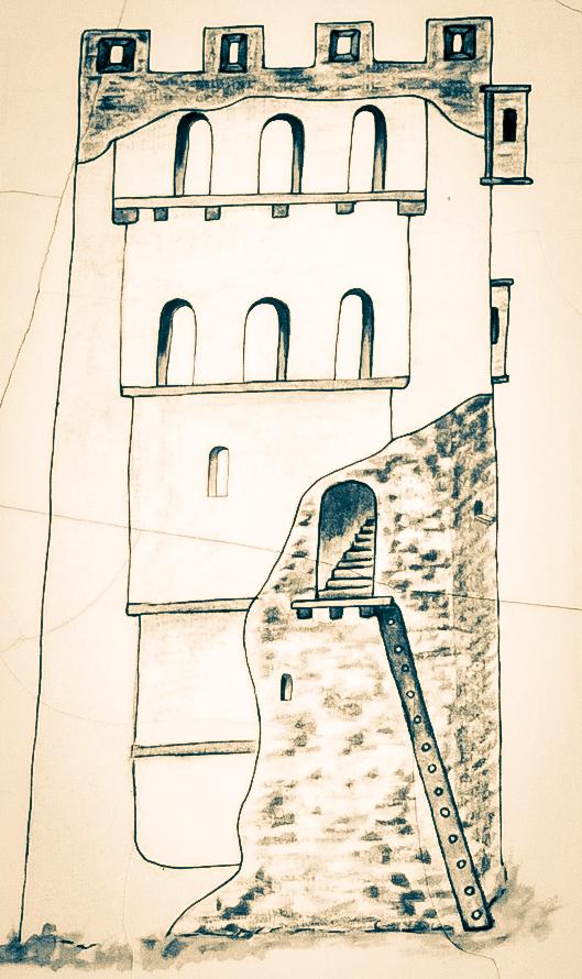 Aproximació dibuixada de l'estructura interior i exterior de la torre del castell de Lluçars, Tolba. Ribagorça d'Osca, Aragó. Montsec d'Estall.