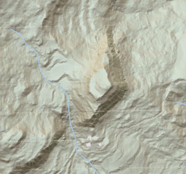 Orografia i relleu del turó on s'assentava l'antic Castell de Toló. Gavet de la Conca, Pallars Jussà. Lleida, Catalunya. Montsec de Rúbies (o de Meià).