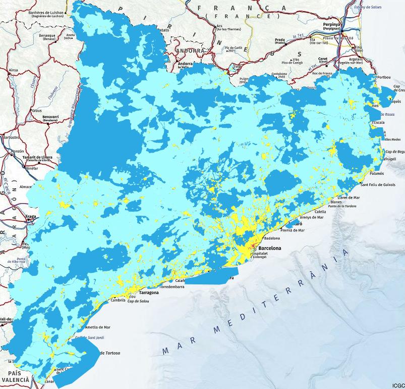 Mapa de qualitat del cel nocturn a Catalunya (Març 2020), on es veu clarament la zona del Montsec enfosquida. El Montsec, Destí Turístic Starlight.