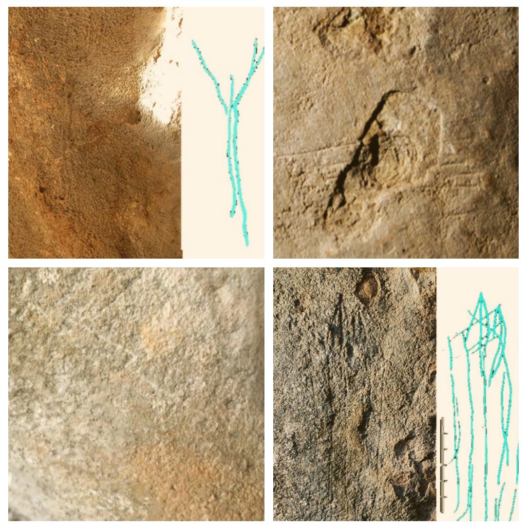 Gravats rupestres trobats a la Cova Gran de Santa Linya. La Noguera, Lleida. Catalunya, Aspres del Montsec.