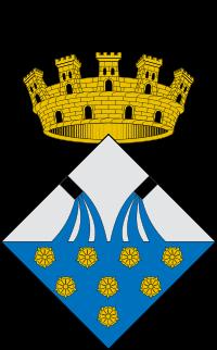Escut del municipi d'Isona i Conca Dellà on s'hi representen dues fonts i l'aigua, una al·legoria a la multitud de surgències que es troben per tot el terme.