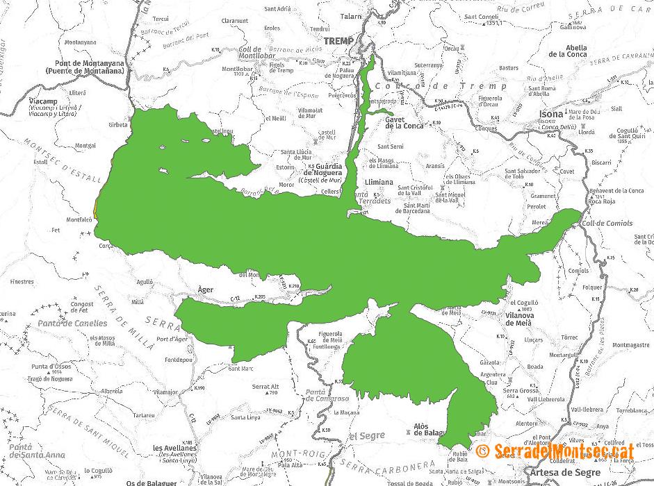 El Paisatge del Montsec. Delimitacions de l'Espai Natural de la Serra del Montsec.