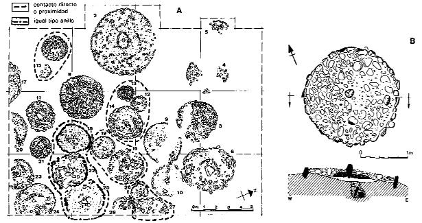 FIGURA 6. Planta de la necròpolis de La Colomina (Gerb, Os de Balaguer, La Noguera), segons Ferràndez, Lafuente, López i Plens (1991).