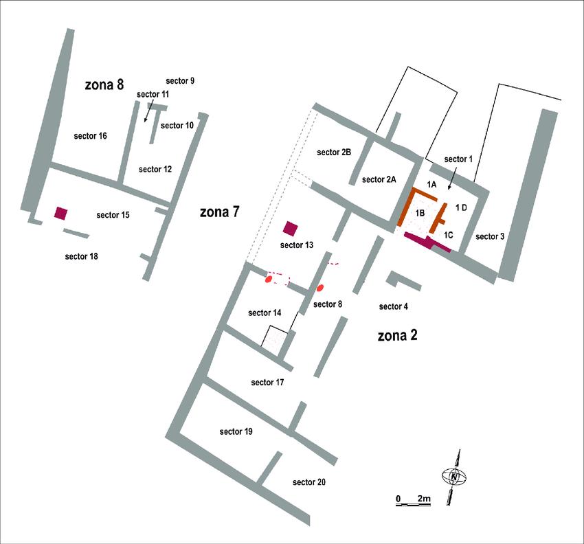Planta de la Zona 2 de Monteró 1, on també s'observa el carrer (zona 7) i el barri oest (zona 8). Imatge: Revista d'Arqueologia de Ponent, 'Un edifici singular al castellum romanorepublicà de Monteró 1...'