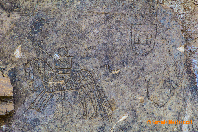 Representació d'un cavaller a les restes de guix del Castell d'Oroners. Camarasa, La Noguera. Lleida, Catalunya. Montsec d'Ares.