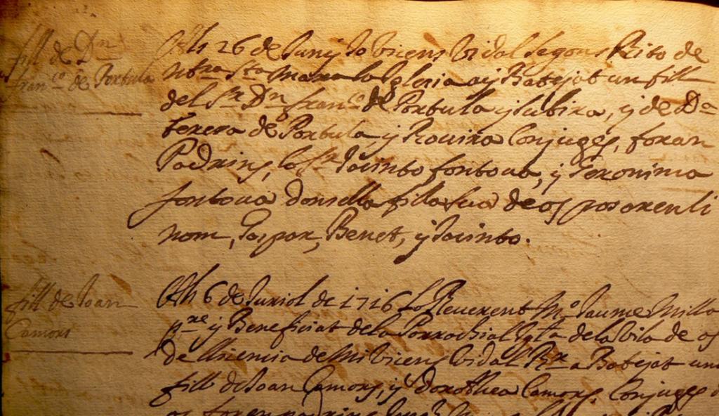 La partida de baptisme de Gaspar de Portolà i de Rovira.