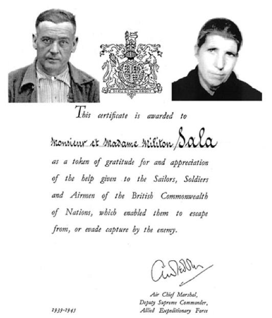 Diploma aliat concedit a Meliton Sala i Dolors Sala.
