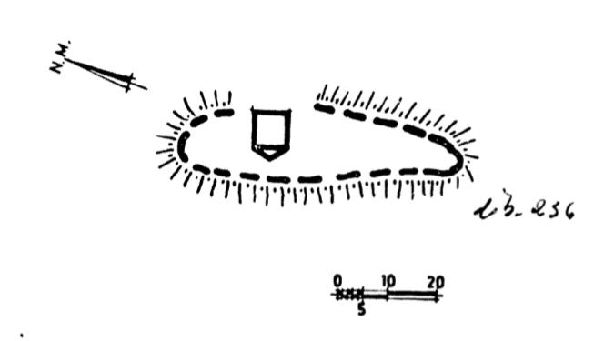 Planol de la situació de la torre del Castell de Lluçars respecte a la muralla, Ribagorça. Osca, Aragó. Montsec d'Estall.