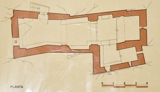 Planta de l'ermita de Santa Quitèria i Sant Bonifàs, Montfalcó. Viacamp, Ribagorça d'Osca. Aragó, Montsec d'Estall.