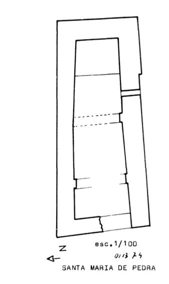 Planta de la original Ermita de de la Mare de Déu de Pedra, Àger. La Noguera, Lleida. Catalunya, Montsec d'Ares. Dibuix de Francesc Fité.
