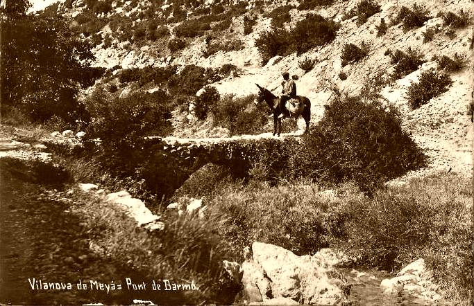 Fotografia antiga del Pont de la Gata (també dit Pont de Barmó) al el Camí de l'Escala del Pas Nou. Vilanova de Meià, La Noguera. Lleida, Catalunya. Montsec de Rúbies.
