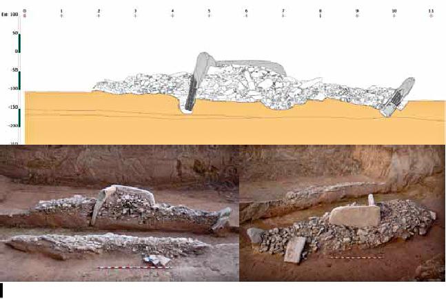 Secció est-oest del megàlit dels Reguers de Seró. Seró, La Noguera. Lleida, Catalunya. Montsec de Rúbies.