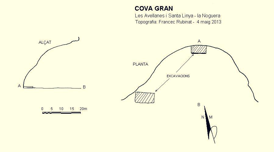 Topologia de la Cova Gran de Santa Linya. La Noguera, Lleida. Catalunya, Aspres del Montsec.