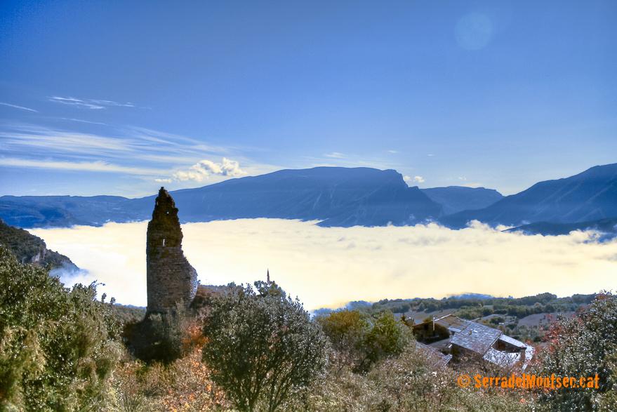 La Torre del castell d'Estorm. Sant Esteve de la Sarga. Pallars Jussà, Lleida, Catalunya. Montsec d'Ares.