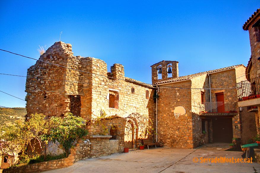 Església de Sant Miquel. Moror, Sant Esteve de la Sarga. Pallars Jussà. Lleida, Catalunya. Montsec d'Ares.
